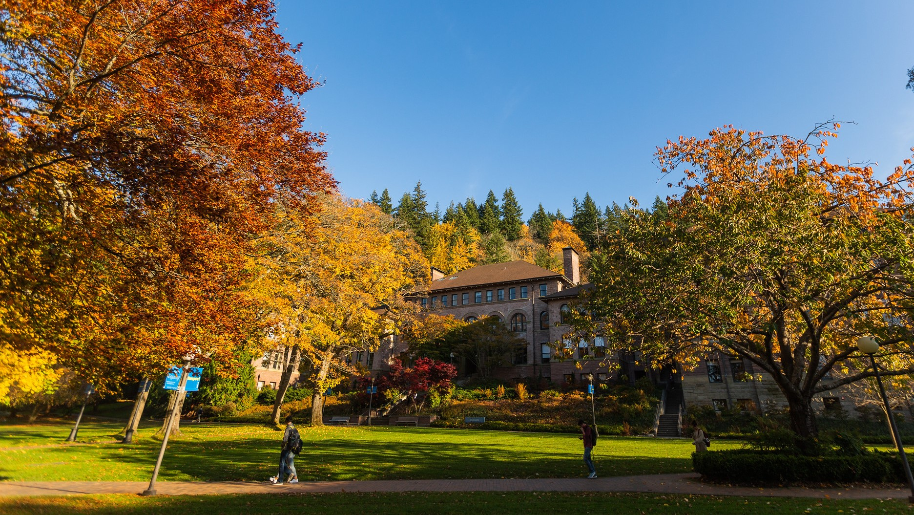 Old Main surrounded by trees with yellow and orange leaves in fall