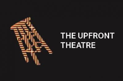 The Upfront Theatre graphic with stool